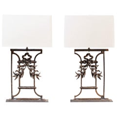 Pair of Custom Lamps Louis Philippe Antique French Cast Iron Mounts, circa 1850