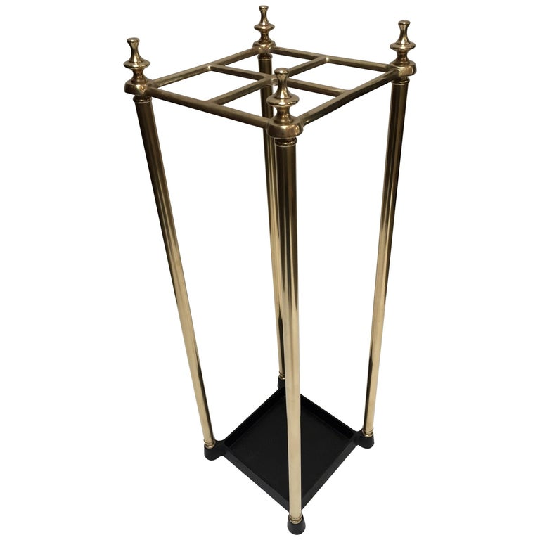 Victorian Polished Brass and Cast Iron Umbrella Stand Valet For Sale