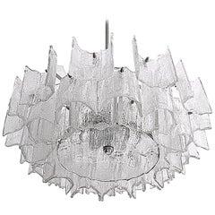 J.T. Kalmar Star Midcentury Modern Frosted Ice Glass Chandelier, Austria, 1960s