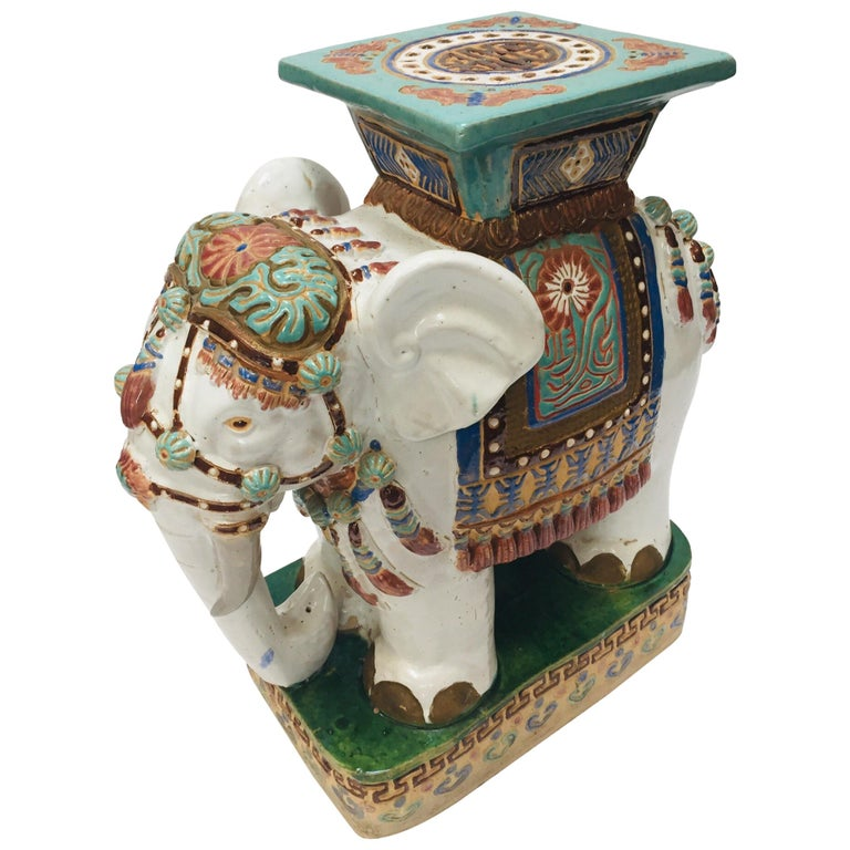 Chinese Hollywood Regency Ceramic Elephant Garden Stool For Sale