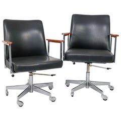 Mid-Century Modern Black Leather Office Armchairs Manufactured by Mauser 1960s