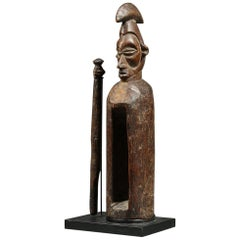 African Tribal Yaka Wood Slit Drum with Striker, DRC
