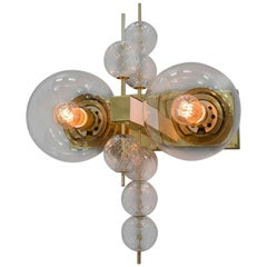 Midcentury Hotel Wall Chandelier with Brass Fixture, European, 1970s