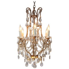 Italian 1940s Crystal Beaded Chandelier