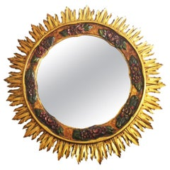 Art Deco large Wood Mirror Gilding with Gold Leaf and Polychromy, 1950s