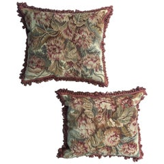 Pair of 19th Century French Floral Tapestry Large Square Cushions