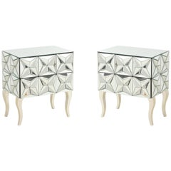Dimensional Beveled Edge Mirrored Nightstands