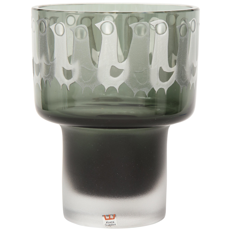 Ove Sandeberg for Kosta Boda Etched Bird Grey Glass Lamp