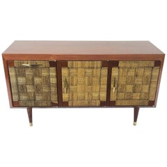 Petite Credenza in Mahogany and Woven Sea Grass Attributed to Edmond Spence