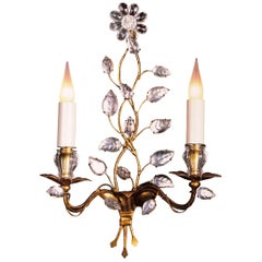 Certified Bagues Sconces #41 2-Arm Flower in Gilt Gold or Gilt Silver Finish