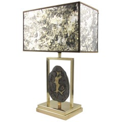 Willy Daro 1970s Polished Brass and Geode Stone Slab Table Lamp