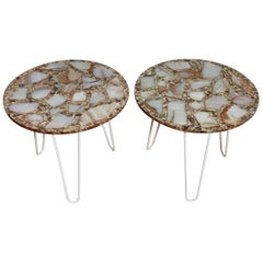 Pair of 1960s Mexican Onyx Side Tables
