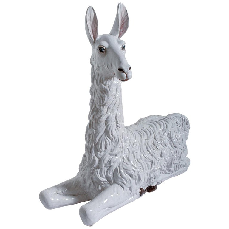 Large-Scale Hand Painted, Glazed Ceramic Llama, Italy, circa 1970 For Sale