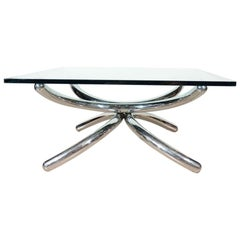 1970s Italian Coffee Table with Sculptural Chrome Base