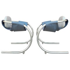 1970s Cantilever Chrome Lounge Chairs by Byron Botker for Landes of California