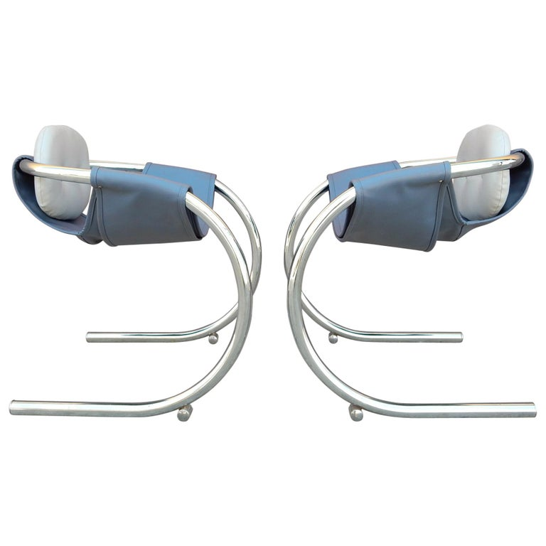 1970s Cantilever Chrome Lounge Chairs by Byron Botker for Landes of California For Sale