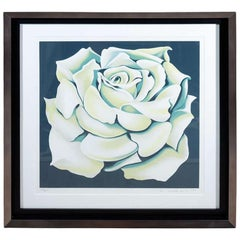 1980s Limited Edition White Rose Lithograph in Custom Frame by Lowell Nesbitt