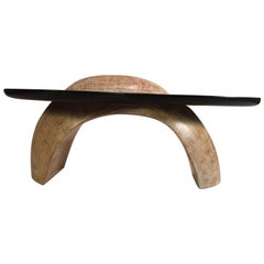 Modern Sculptural Carved Wood Black and White Coffee Table