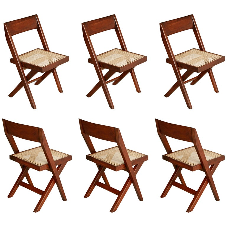 "Pierre Jeanneret Solid Teak and Cane ""Library"" Chairs, circa 1959, Set of Six For Sale"