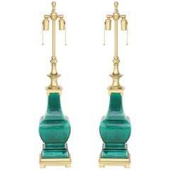 Stffel Emerald Green Porcelain, Brass Lamps