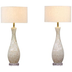 1950s Barbini Murano Bullicante Glass Lamps, a Pair