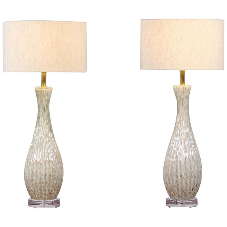 1950s Barbini Murano Bullicante Glass Lamps, a Pair For Sale