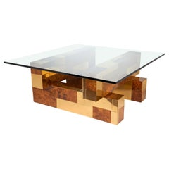 1970s Cityscape Coffee Table by Paul Evans in Brass and Burled Wood