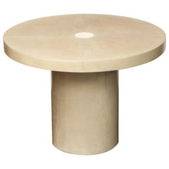 Round Parchment Table with Genuine Shagreen and Bone Trim