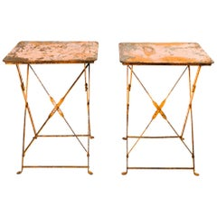 Pair of Antique French Garden Bistro Folding Tables