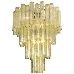 Vintage Venini Champagne Tubular Glass Chandelier