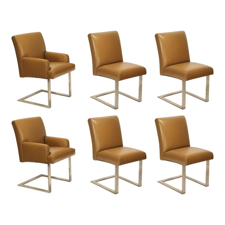 Paul Evans for Directional Dining Chairs in Edelman Leather, Set of Six For Sale
