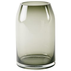 Mid-Century Modern Smoked Grey Glass Sommerso Vase