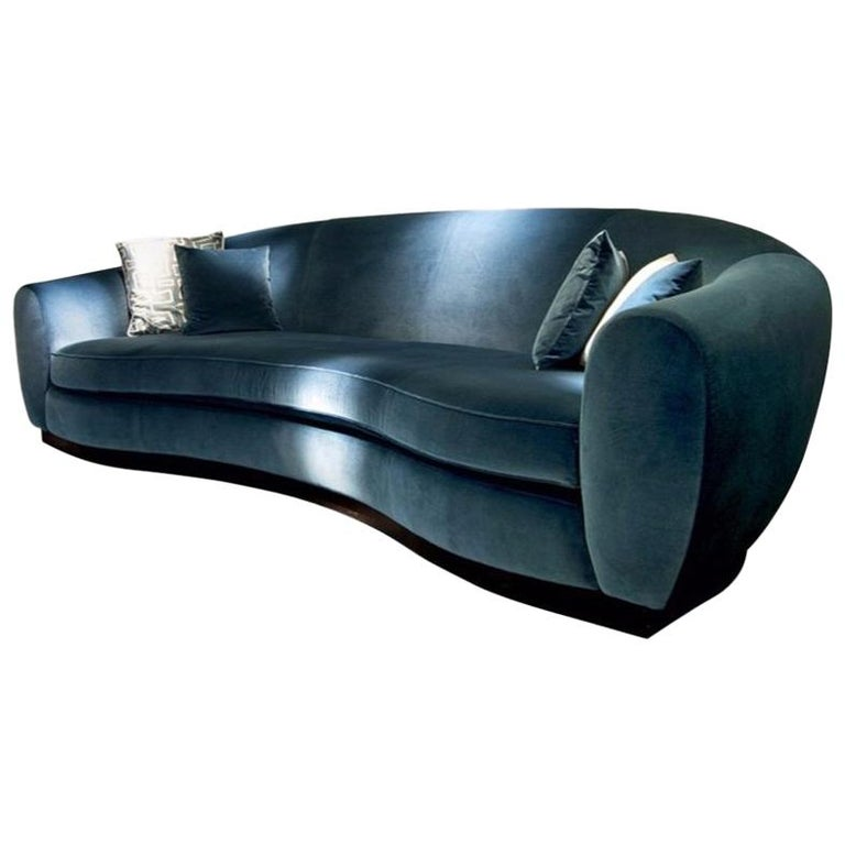 Contemporary Italian Sofa In High Quality Velvet For Sale