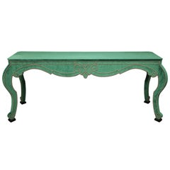 Velvet Console with Antique Brass Nailheads
