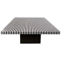 Custom Black and White Bone Inlay Table