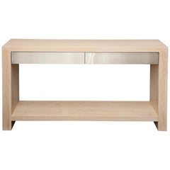 Custom Bleached Oak Console with Brushed Stainless Steel Drawers