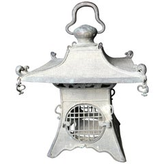 "Japan Fine Antique Cast Bronze ""Pagoda Roof"" Lantern Dragons & Pendant Lights"