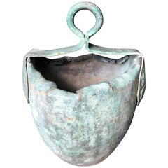Japan Fine Old Hand Forged and Riveted Bronze Bucket Planter-200 Years Old