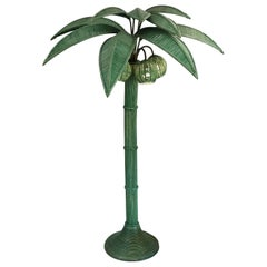 Mexican Wicker Rattan Palm Tree Floor Lamp by Mario Lopez Torres in Jade