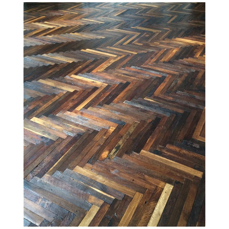 French Antique Solid Wood Oak Herringbone Pattern, France, 18th Century For Sale