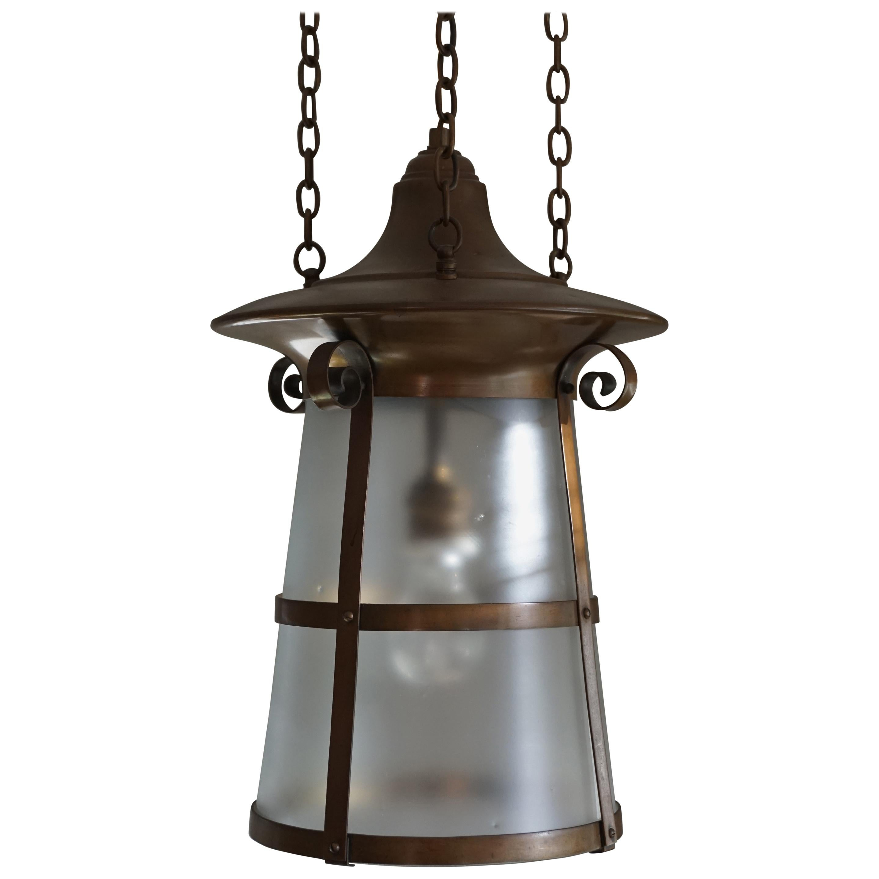 Highly stylish brass and glass arts and crafts pendant light fixture 1900 1910 for sale at 1stdibs