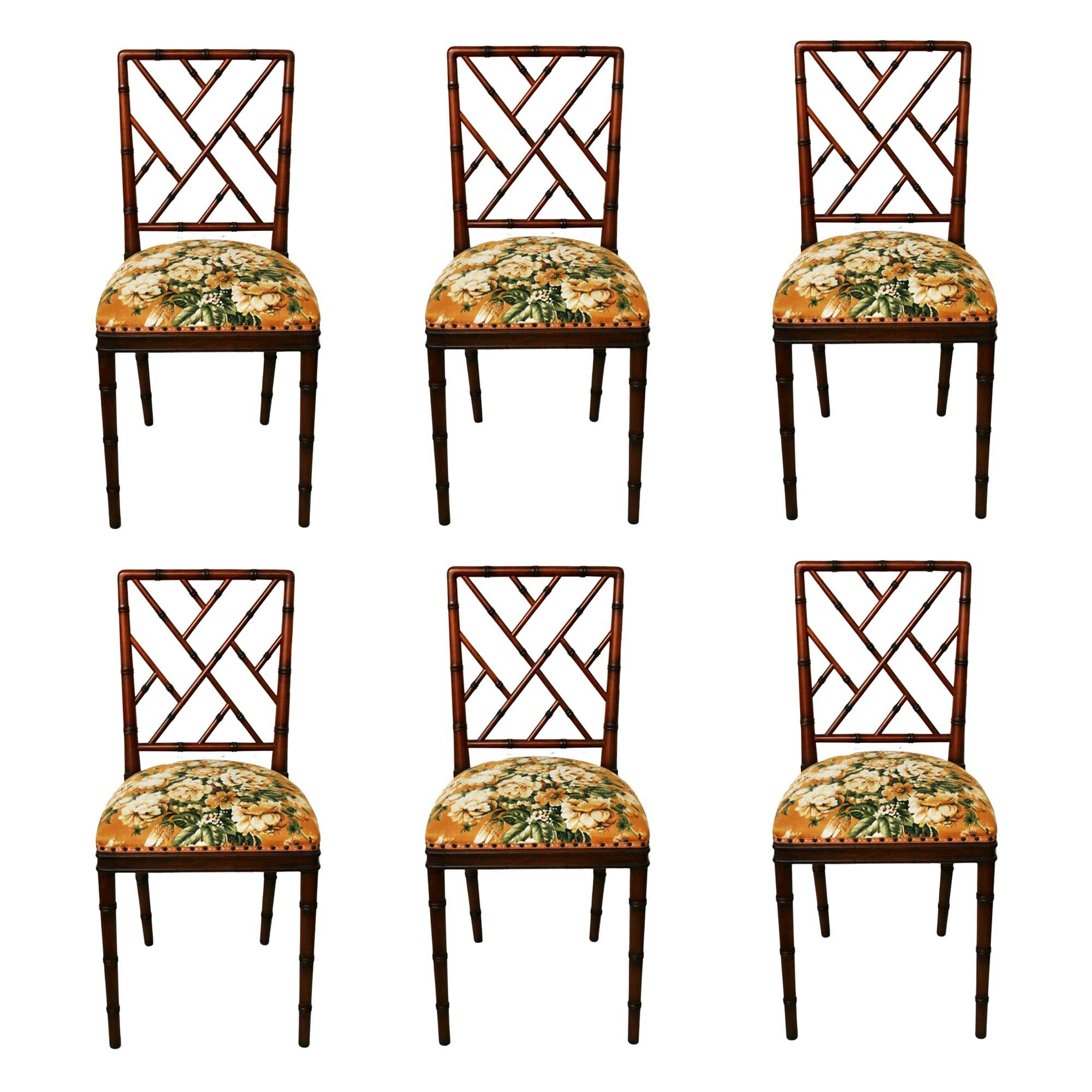 Lot of 6 Dining Chairs Faux Bamboo Chinese Chippendale, 1950s