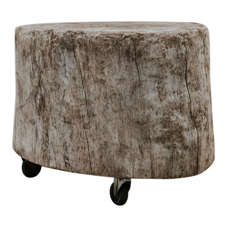 Treetrunk Or Stump Table On Wheels For