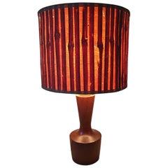 Fabulous Small Danish Teak and Straw Table Lamp, 1960s