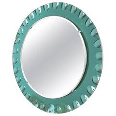 Wall Mirror by Cristal Art, Torino, circa 1960 Green Glass Midcentury