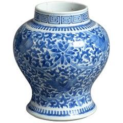 19th Century Blue and White Kangxi Style Porcelain Vase