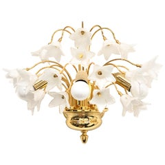 Stunning Murano Glass and Gold-Plated Sconce Wall Lamp Vintage, Italy, 1980s