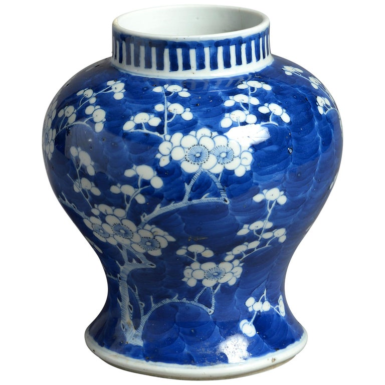 19th Century Blue and White Porcelain Vase For Sale