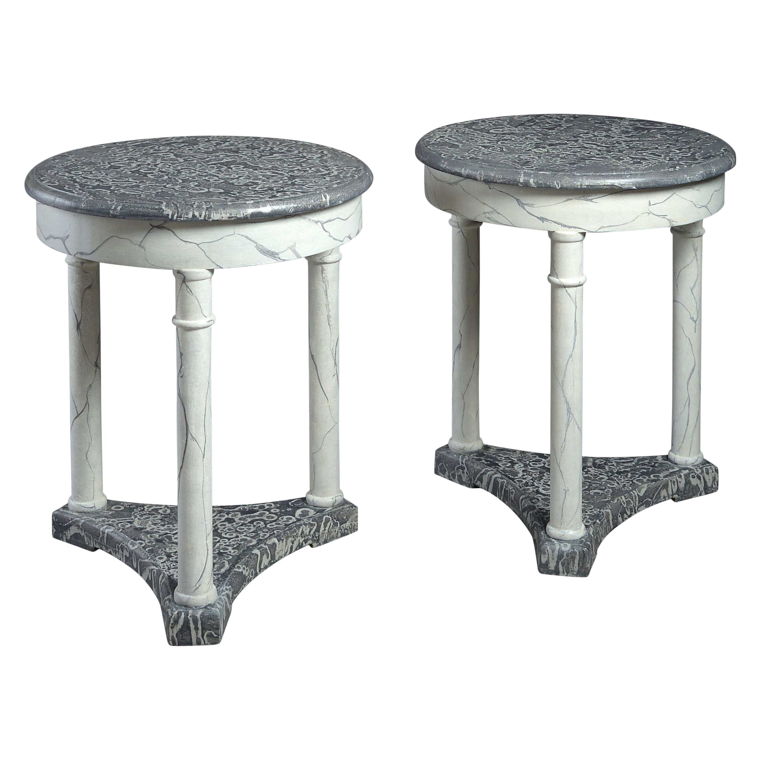 Pair of Faux Marble Circular End Tables