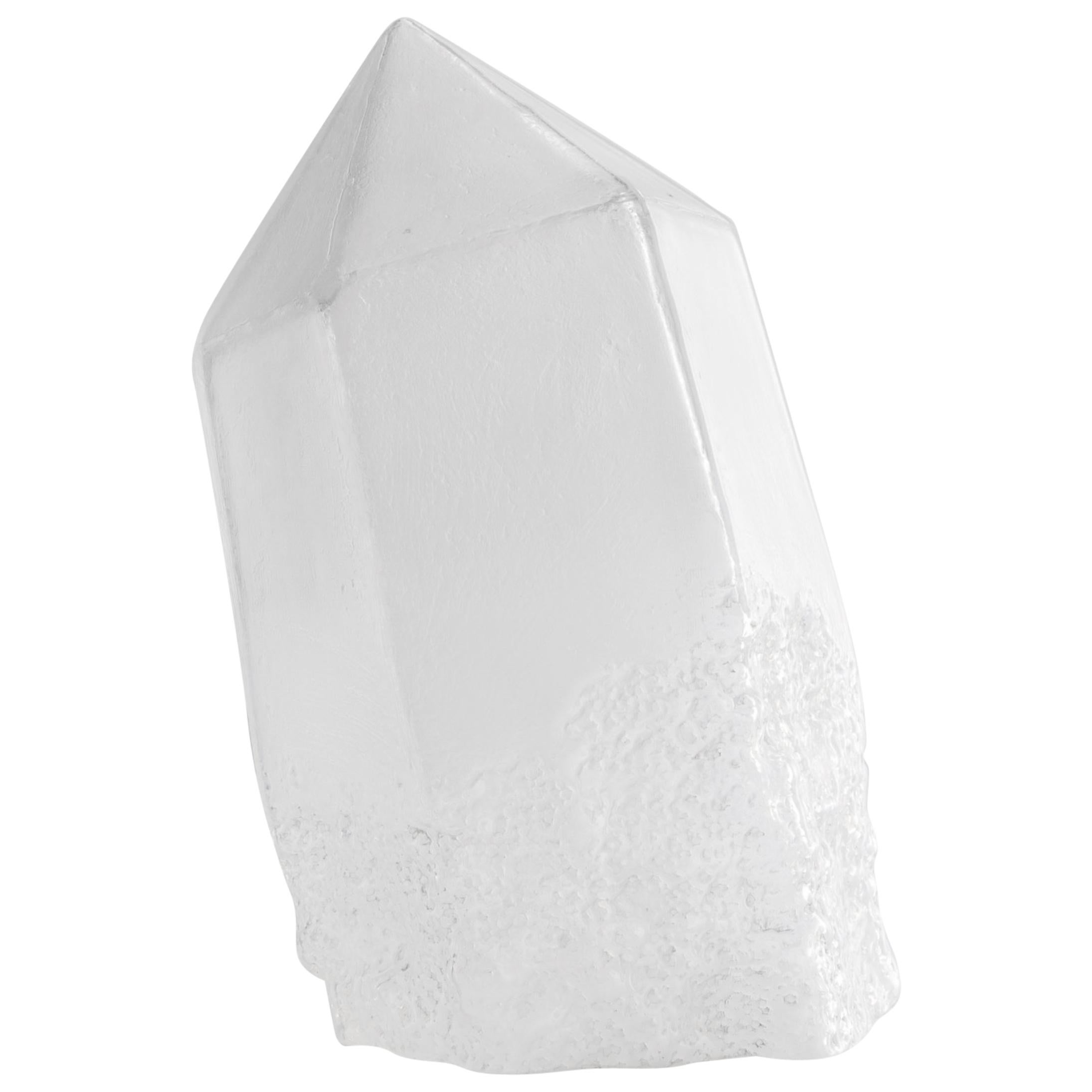 """Crystal"" Sculptural Vessel in White Hand Blown Glass, Jeff Zimmerman"